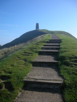 Climbing up Glastonbury Tor