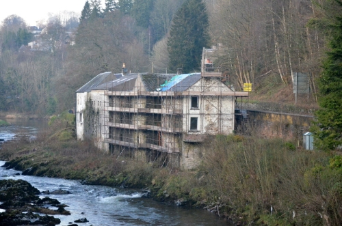 Distillery with scaffolding