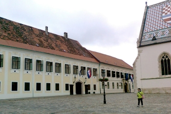 The Croatian parliament meets here on the left