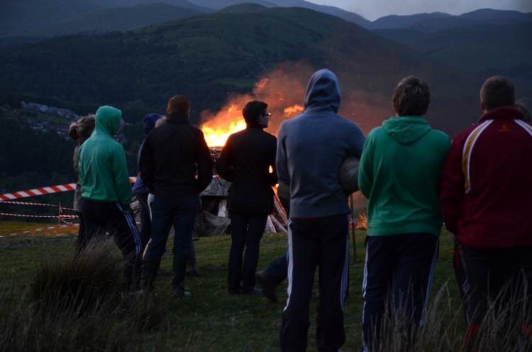 crowd and bonfire