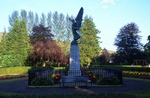 war memorial with hostas