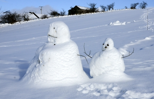 snowmen on golfcourse