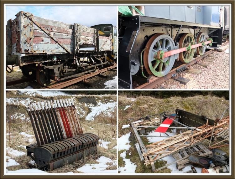 Wagons, locos, signals and signal levers.