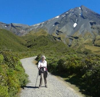 Susan descending Mt Taranaki