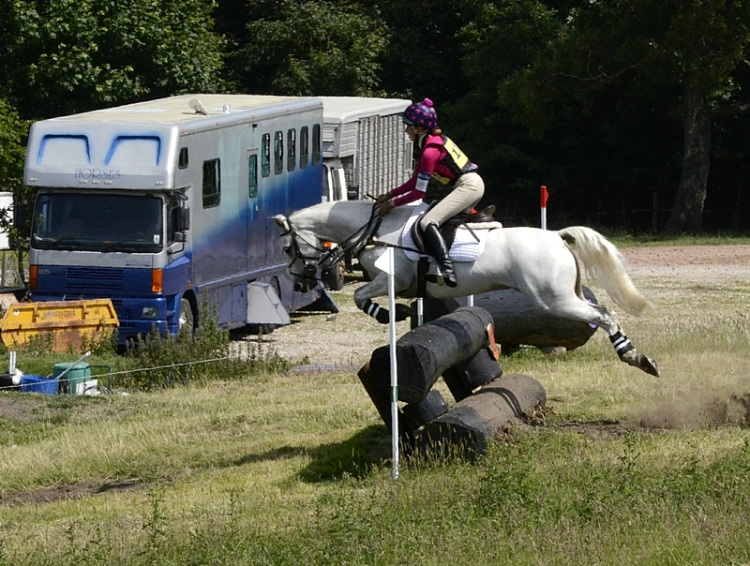 horse jumping drop fence