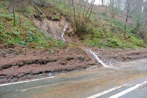 Landslip on A7