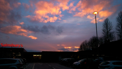 sunset over Sainsbury's