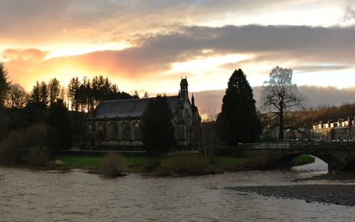 sunset over church