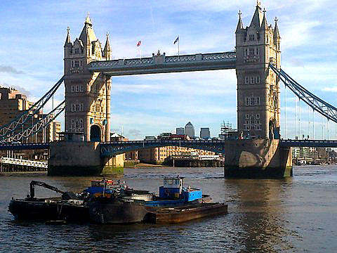 Tower Bridge with Canary Wharf in the background