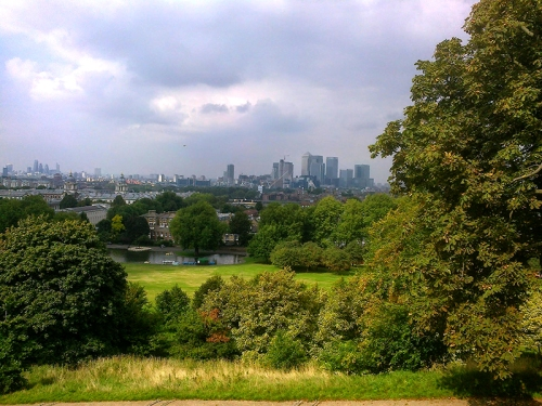 View of the City and Canary Wharf
