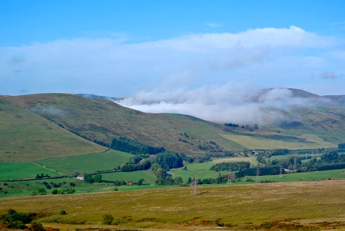 ewes valley with mist