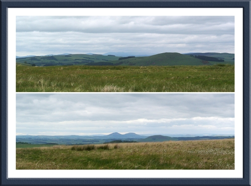 The Cheviots above and the Eildon Hills below