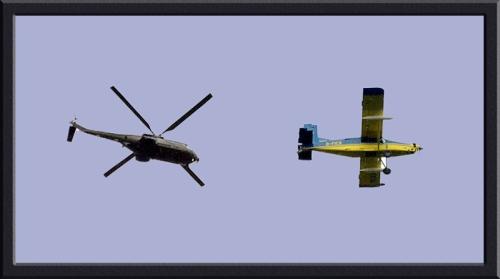 helicopter and aeroplane