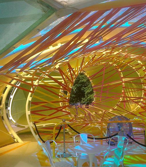 Inside the pavilion
