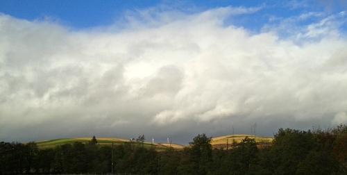 cloudy windmills