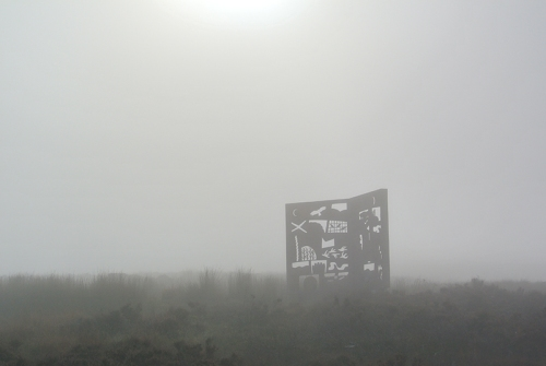 McDiarmid Memorial in mist