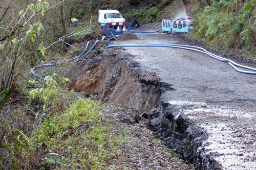 tarras road landslip