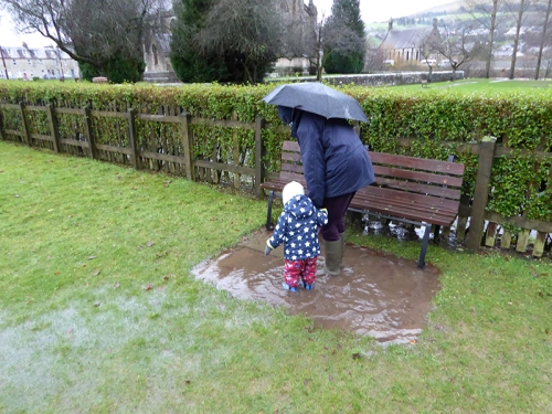 Matilda and a puddle