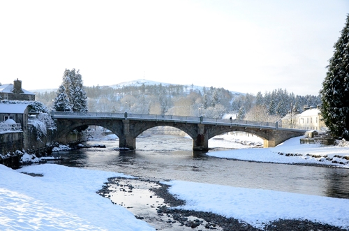 Langholm Bridge in snow