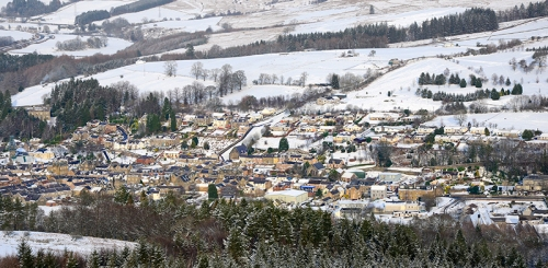 Langholm in snow from Warbla
