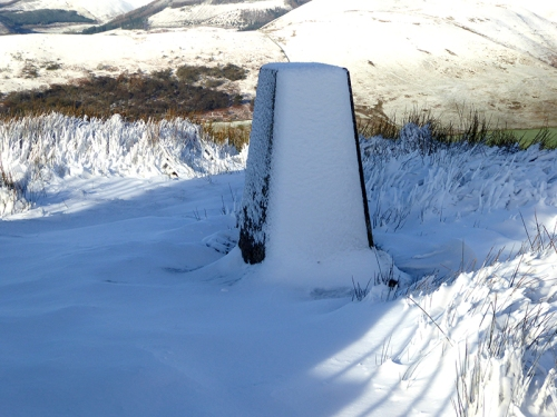 trig point whita in snow