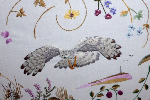 hen harrier embroidery