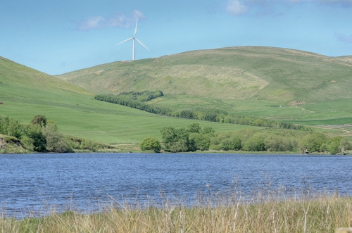 Winterhope reservoir with windmill