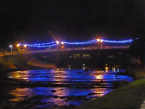 Town bridge lights