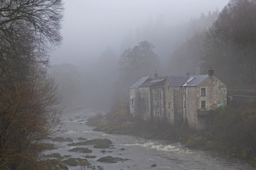 Langholm Distillery in mist