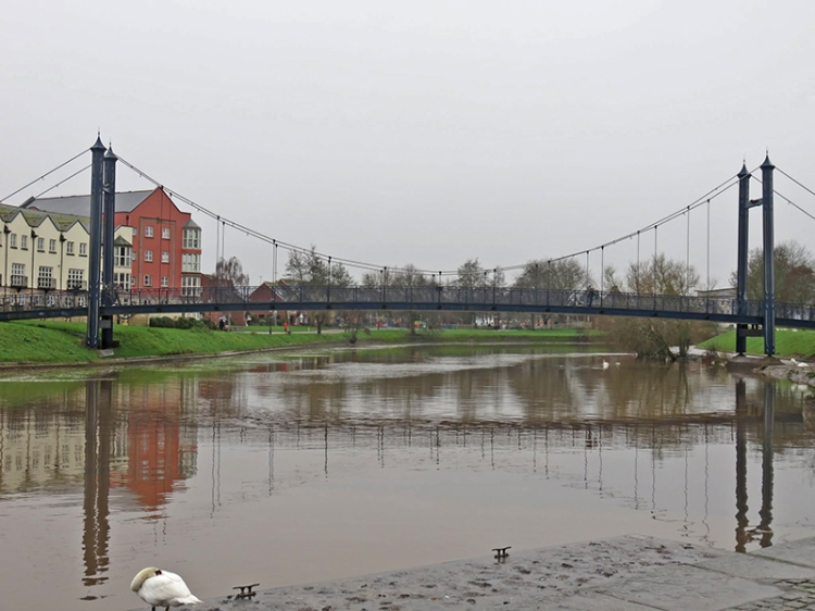 The river and a handy new foot/bike bridge