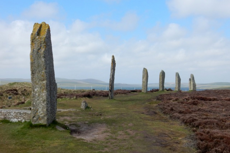 The Ring of Brodgar is a Neolithic henge and stone circle about 6 miles north-east of Stromness on the Mainland, the largest island in Orkney, Scotland.