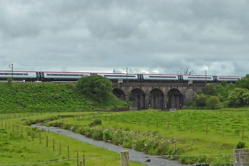 A virgin train sweeps across the little viaduct over the Mein Water