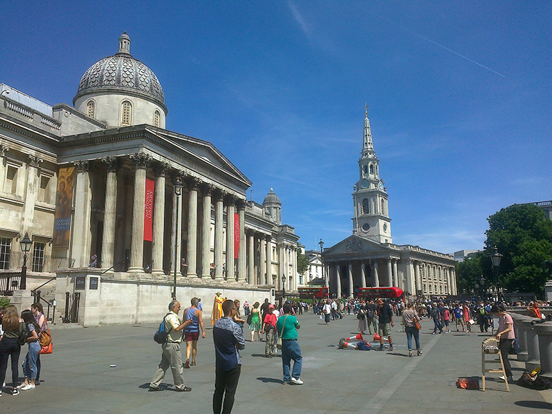 A busy scene outside the National Gallery