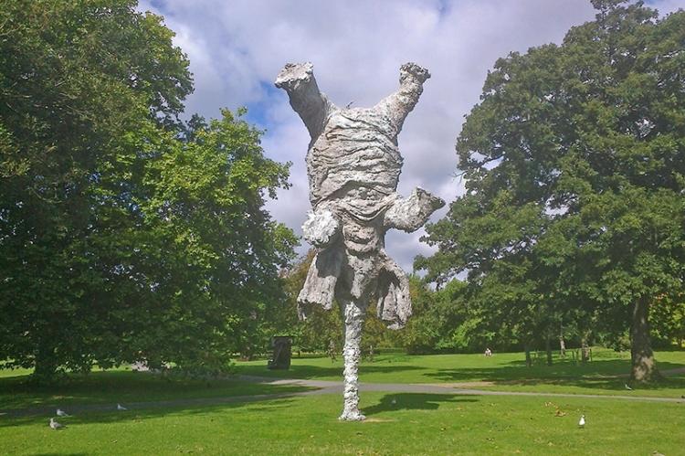 An elephant balancing on its trunk - Frieze scupture Fair - Regent's Park