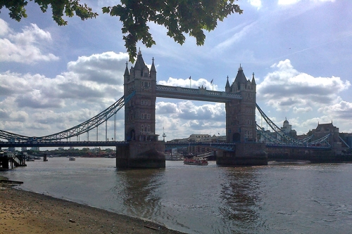 Tower Bridge at low tide