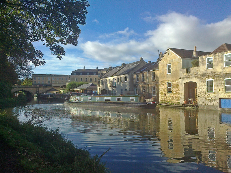 From canal towpath looking towards the boatyard