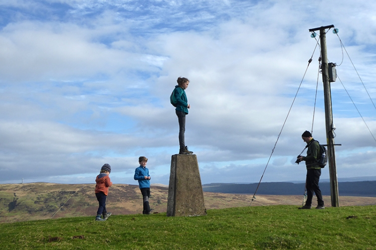 warbla trig point with family