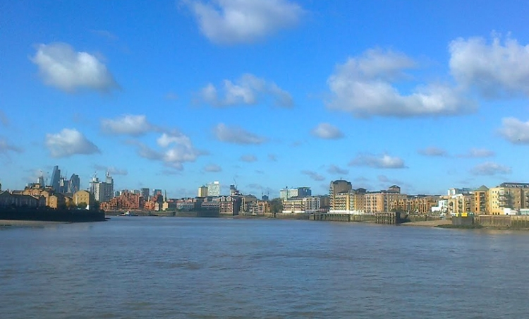 From the Thames Path at Canary Wharf