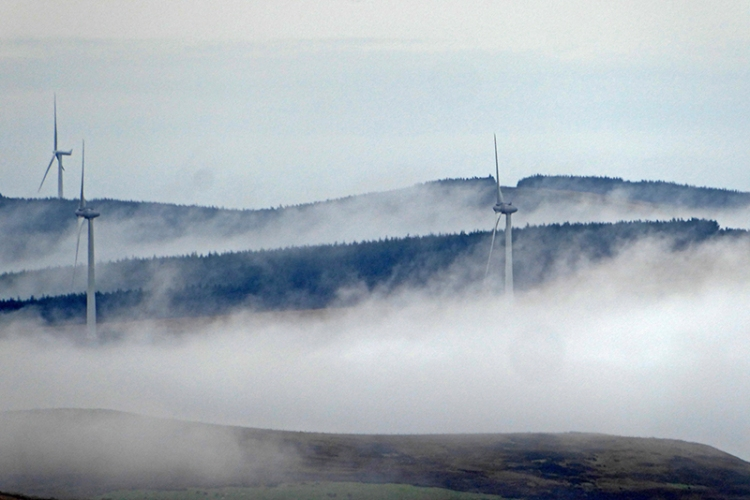 windmills and mist
