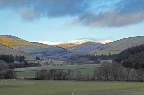Ewes valley with snow