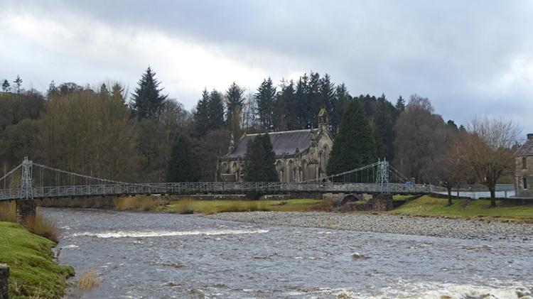 Suspension bridge and parish church