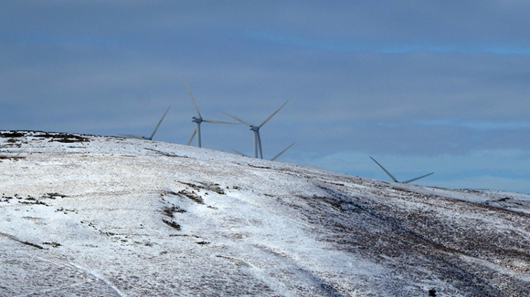 windmills in snow