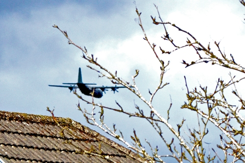 low flying plane