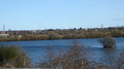 Longtown pond and windfarm