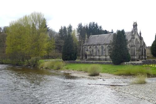 church with poplars