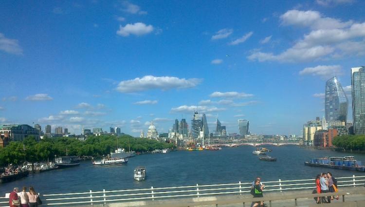 View from bus window while crossing Waterloo Bridge
