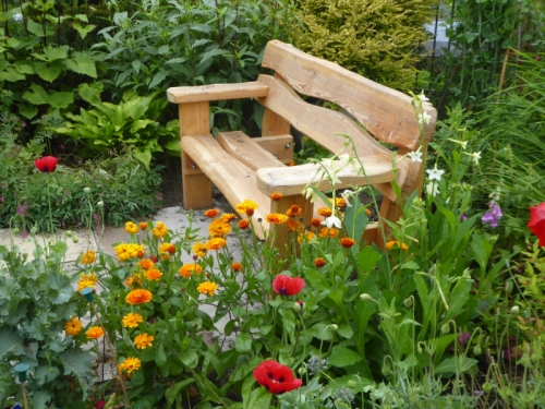 new bench with flowers