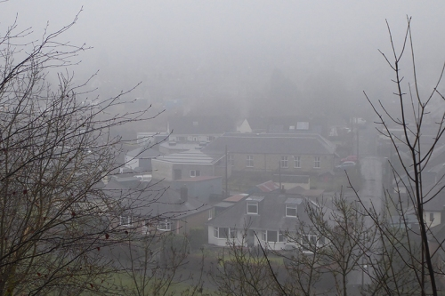 view of town from stubholm in mist