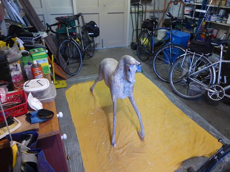 rocking horse in garage