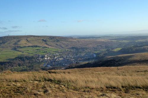 view of langholm from top of timpen
